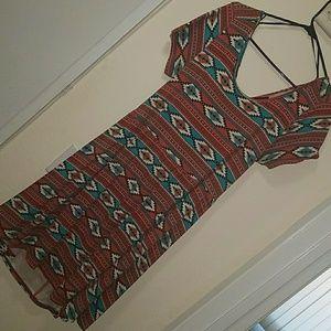 Criss-cross Back Tribal Print Dress